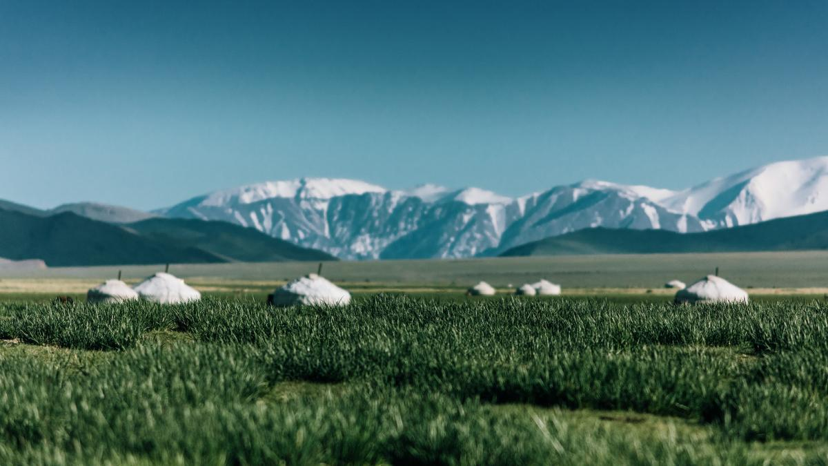 A typical Kazakh settlement consists of several yurts placed in the endless valley.