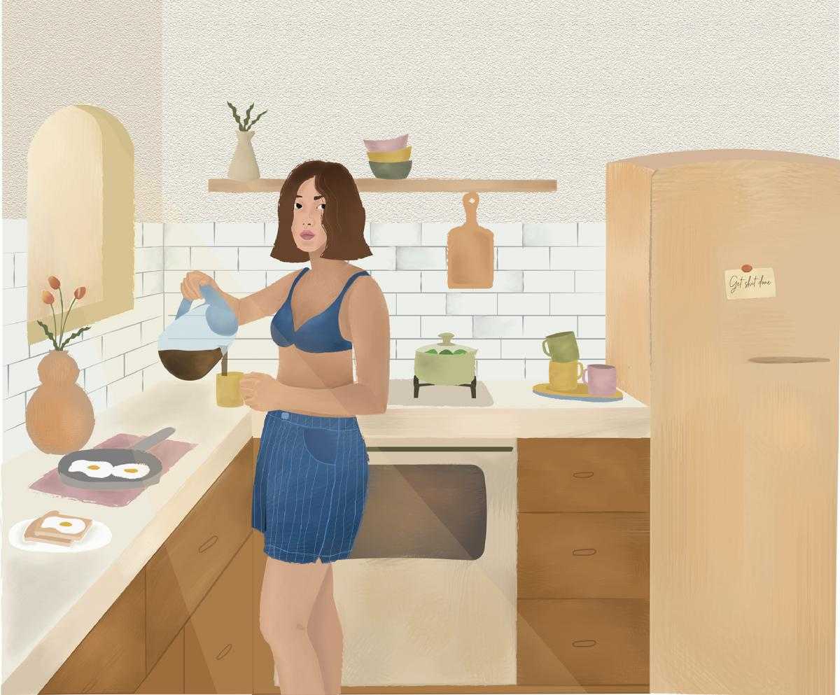 Illustration of a girl wearing shorts and a bra in kitchen pouring a cop of coffee.