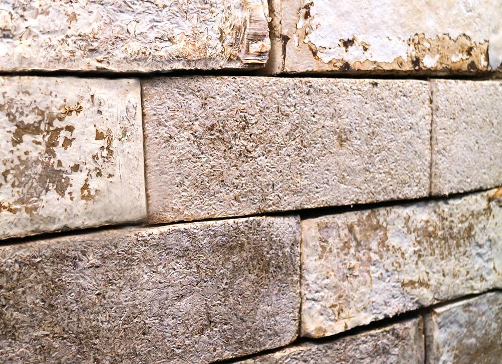 Close up shot of Mycelium brick samples by BIOHM