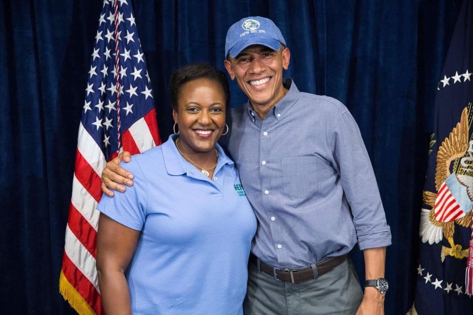 Heather McTeer Toney smiling and posing with Barack Obama