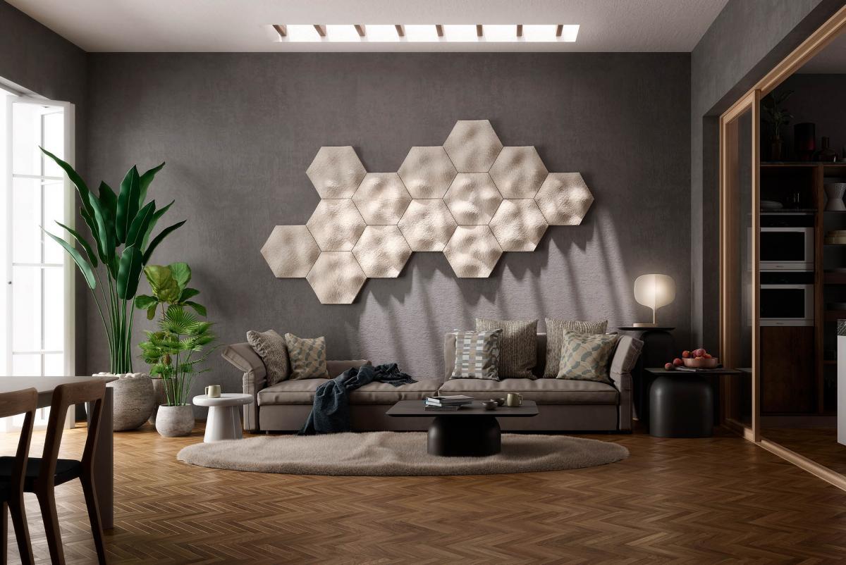 Mog mycelium panels displayed on living room wall