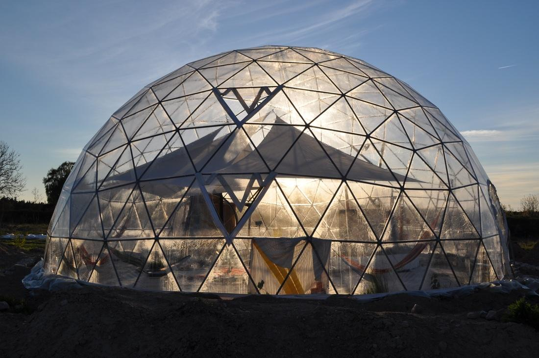 The geodesic dome greenhouse at the Suderyn Ecovillage in Gotland, Sweden