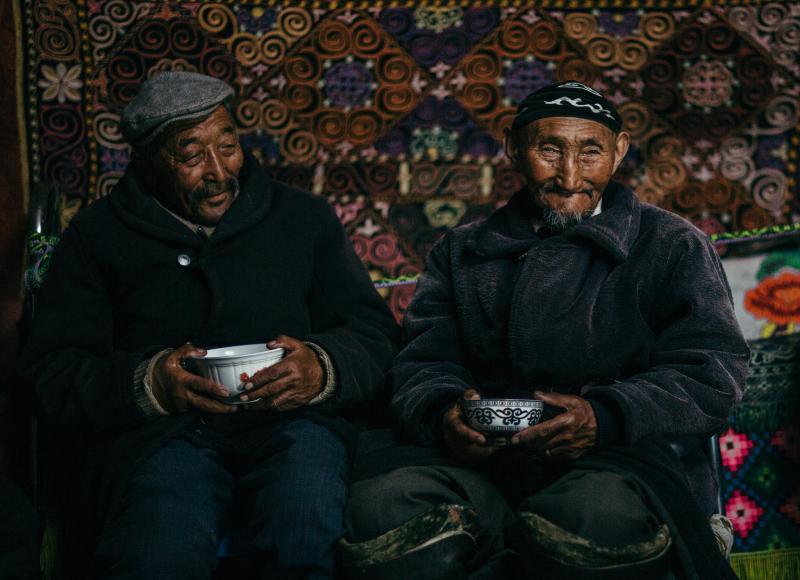 Elders enjoying a cup of tea.