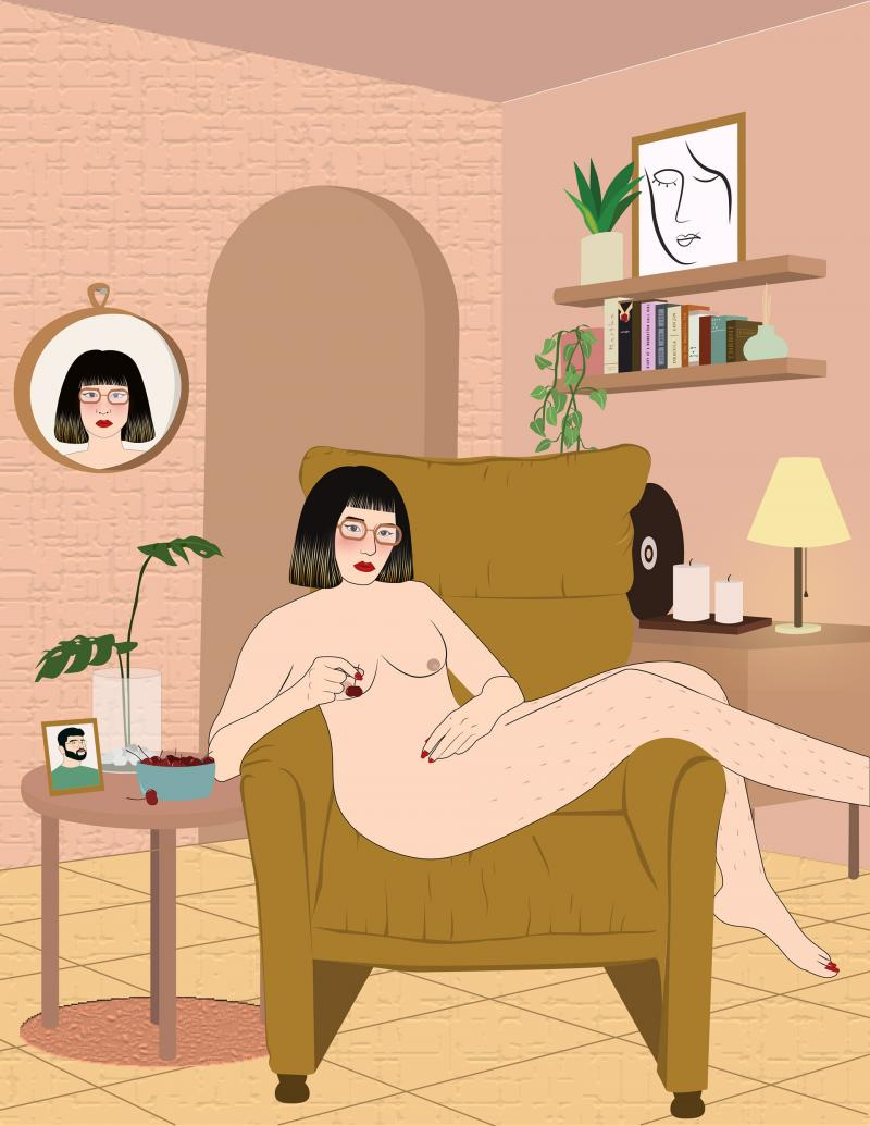 Illustration of a woman sitting naked on her couch practicing self care and self reflection during isolation
