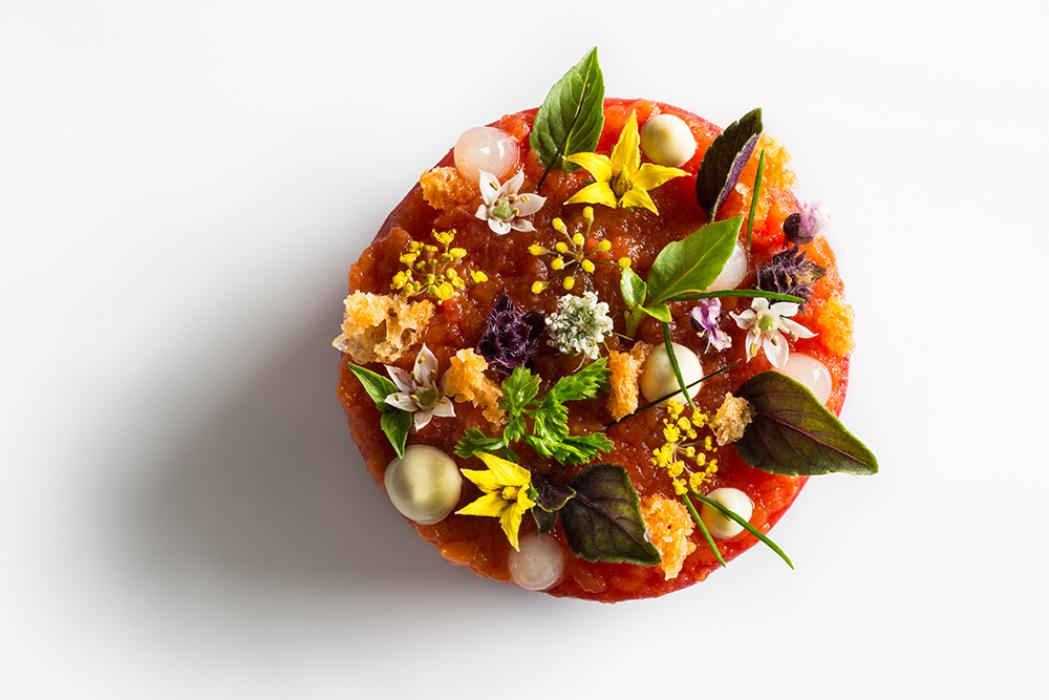 Beautiful tartare dish prepared by Daniel Humm, Executive Chef of Eleven Madison Park in New York City