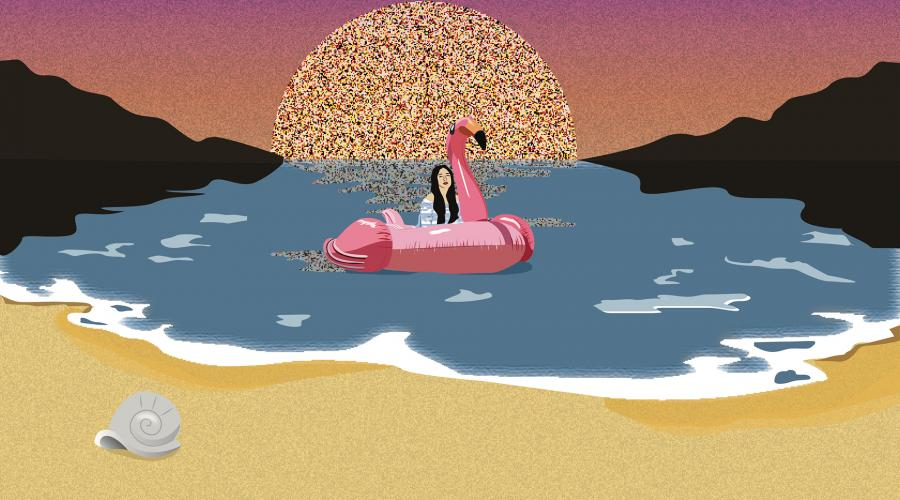Illustration of a girl sitting on a pink floating flamingo in the water at the beach with the sun behind her