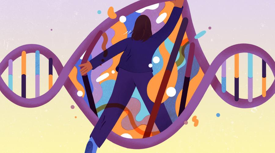 Illustration of a woman stretching open a giant DNA strand as though and entering it is a portal.