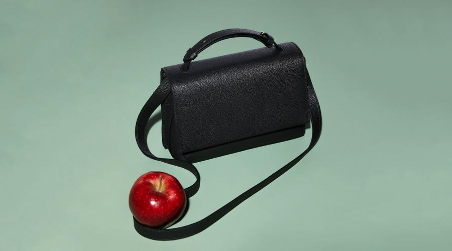 Black LUXTRA bag and an apple on mint green background