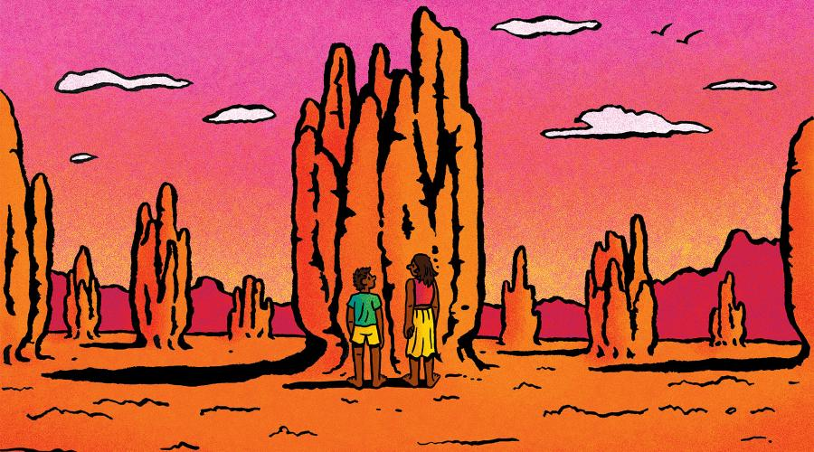 Illustration of two people conversing in front of a mound of earth in a desert environment. Illustrator: Ethan Carroll