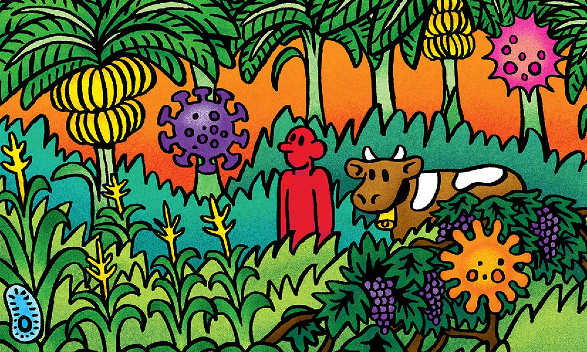Illustration of a person with a cow surrounded by banana trees and corn