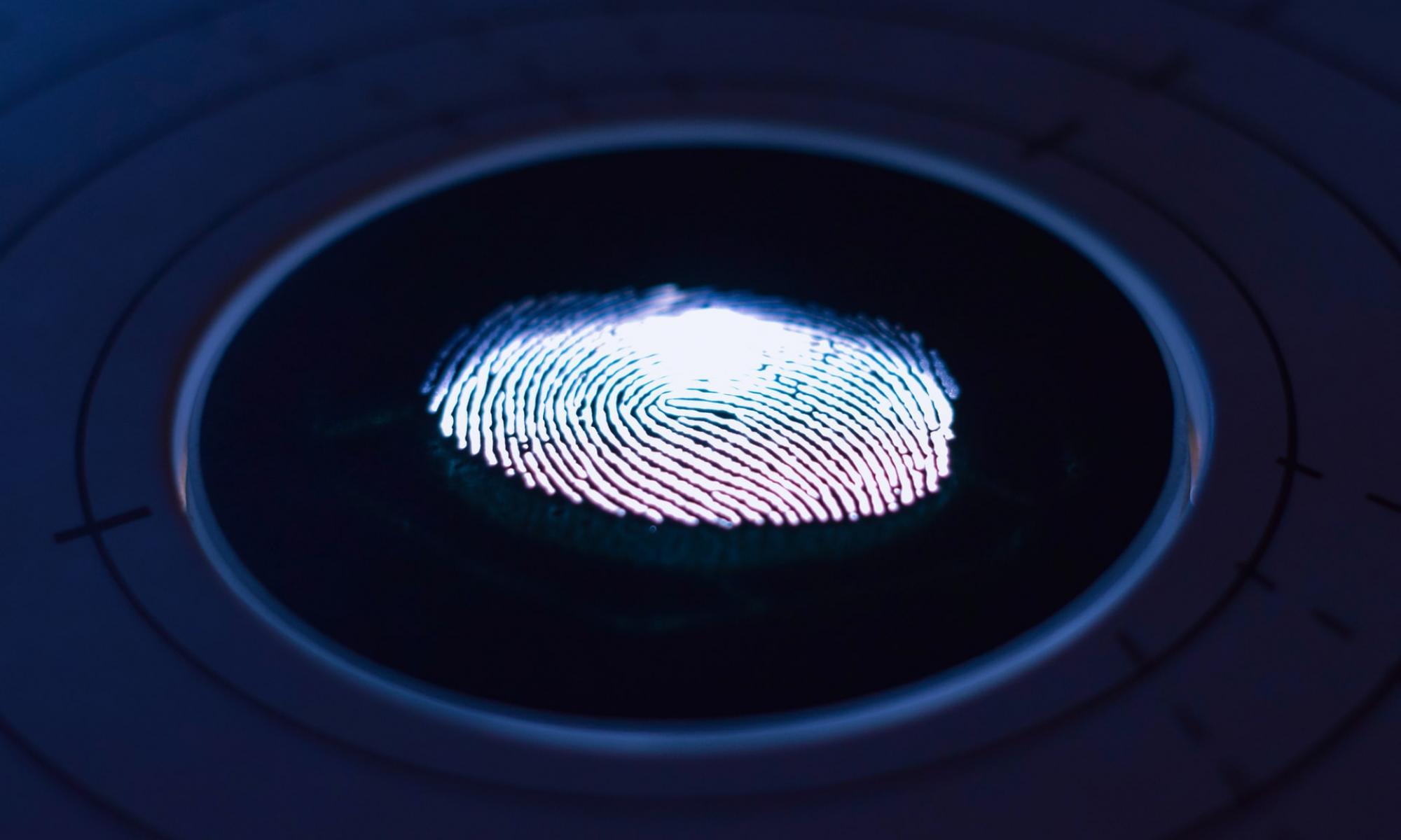 Finger print illuminated under blue light